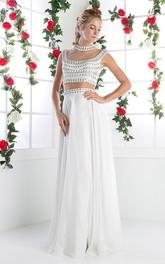 2-Piece Illusion Jeweled Column Long Sleeveless High-Neck Chiffon Dress
