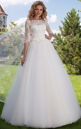 Bateau Half Sleeve Tulle Ball Gown Dress With Appliques And Corset Back