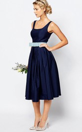 A Line Pleated Short Mini Strapped Sleeveless Satin Bridesmaid Dress With Bow