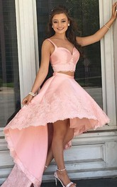 Spaghetti V-neck Satin Lace Sleeveless High-Low Two Piece Homecoming Dress