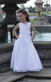 Floor-Length Waist Floral A-Line V-Neckline Flower Girl Dress