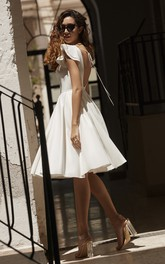 Cute Informal Knee-length Layered Cap Sleeve Satin Wedding Dress With Deep V-back