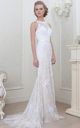 Sheath Jewel Neckline Sleeveless Lace Floor-length Wedding Dress With Illusion
