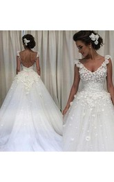 V-neck Lace Tulle  Sleeveless Wedding Gown