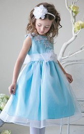 Appliqued Layers Tea-Length Slit-Front Sequined Flower Girl Dress