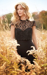 country style Jewel-Neck Cap-sleeve Lace Bridesmaid Dress