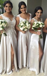 A-line V-neck Sleeveless Appliques Split Front Split Zipper Lace Satin Dress