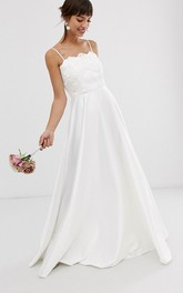 Simple Satin Sheath Spaghetti Long Wedding Gown