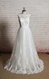 A-Line Sheer Back Sleeveless Jewel-Neckline Tulle Gown