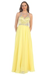 Scoop-neck Sleeveless A-line Beaded Chiffon Dress With Illusion back