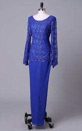 Scoop-neck Pencil long Mother of the Bride Dress With Appliqued top