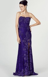 Strapless Sheath Lace Dress With Split Front And Beading