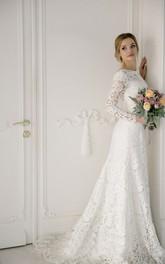 Elegant Mermaid Bateau Lace Wedding Gown With V-back
