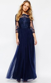 Bateau Illusion 3-4-sleeve Tulle Prom Dress With Beading