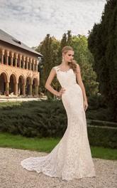 Sleeveless V-Back Sheath Appliqued V-Neckline Lace Low Dress