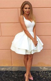 Straps Sweetheart Satin Sleeveless Short Homecoming Dress with Ruffles and Tiers