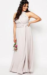 convertible Haltered Chiffon Sleeveless plus size Dress