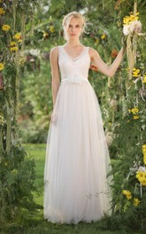 Lace Beaded Sequins Tulle Chiffon Wedding Dress