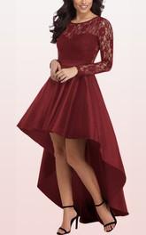 V-neck Taffeta Lace Long Sleeve High-Low Zipper Illusion Evening Dress with Ruffles