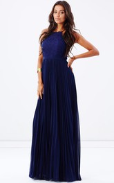 Spaghetti Pleated Long Dress With Appliques And Zipper