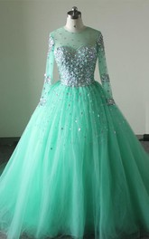 Long Tulle Back Long-Sleeve Jeweled Zipper Chapel-Train Lace-Up Dress