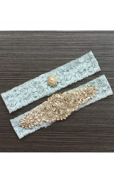 Hot Big Beaded Pearl Lace Elastic Two Piece Garter Within 16-23inch