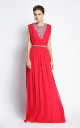 Floor-length A-Line Jewel Sleeveless Chiffon Prom Dress with Beading and Pleats