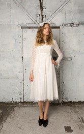 Tulle Lace Bodice Long-Sleeve Vintage Dress