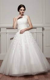 Appliqued Tulle Overlay Sleeveless Bateau-Neckline Ball Gown