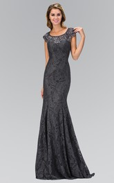 Column Long Scoop-Neck Lace Cap-Sleeve Zipper Dress