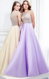 Bateau A-line Satin Prom Dress With Illusion And Beading