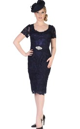 Appliqued Short-Midi Pencil Lace Mother Of The Bride