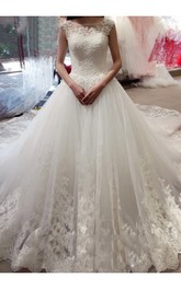 Bateau Lace Tulle Cap Short Sleeve Wedding Dress
