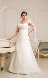 Cap-Sleeve Ruched Lace Jewel Floor-Length A-Line Corset-Back Dress