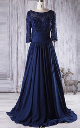 Floor-length Sweetheart Long Sleeve Chiffon&Tulle&Lace Dress With Beading&Illusion