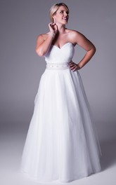 Sweetheart Criss cross A-line Tulle plus size Dress With Embellished Waist