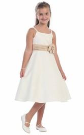 Cap-Sleeve Cape 3-4-Length Floral Flower Girl Dress