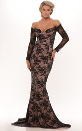 sassy Off-the-shoulder Lace Trumpet Long Sleeve evening Dress