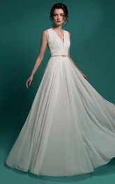 Sleeveless Beaded Lace Appliques Floor-Length A-Line Chiffon Dress