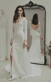 Sexy Split Front Satin Keyhole Wedding Gown With Deep V-neck