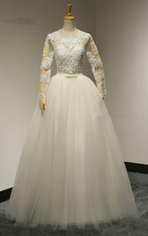 A-Line Pleated Bridal Long-Sleeve Jewel-Neckline Tulle Dress