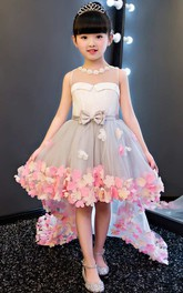 A-line High-low Jewel Sleeveless Tulle Dress with Bow