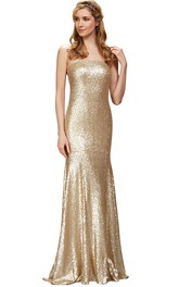 glam Sequined Sheath Dress With Backless design And Sweep Train