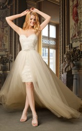Sweetheart Pencil short Lace Appliqued Wedding Dress With Detachable Train