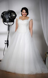 Cap-sleeve Beaded Tulle A-line Ball Gown With Corset Back