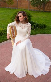 Scoop-neck Illusion Lace Long Sleeve Floor-length Chiffon Wedding Dress