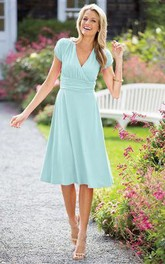 Short-Sleeve Chiffon Tea-Length A-Line Zipper Dress