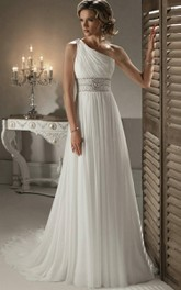 Chiffon Jeweled Waistband One-Shoulder Modern Gown