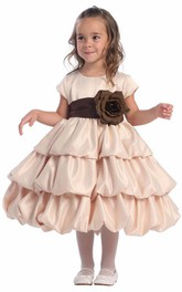 Cap-Sleeve Layered 3-4-Length Satin Flower Girl Dress