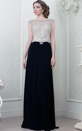 A-Line Beaded Cap-Sleeve Bateau-Neck Floor-Length Jersey Evening Dress